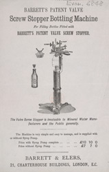 Advert For Barrett's Screw Stopper Bottling Machine